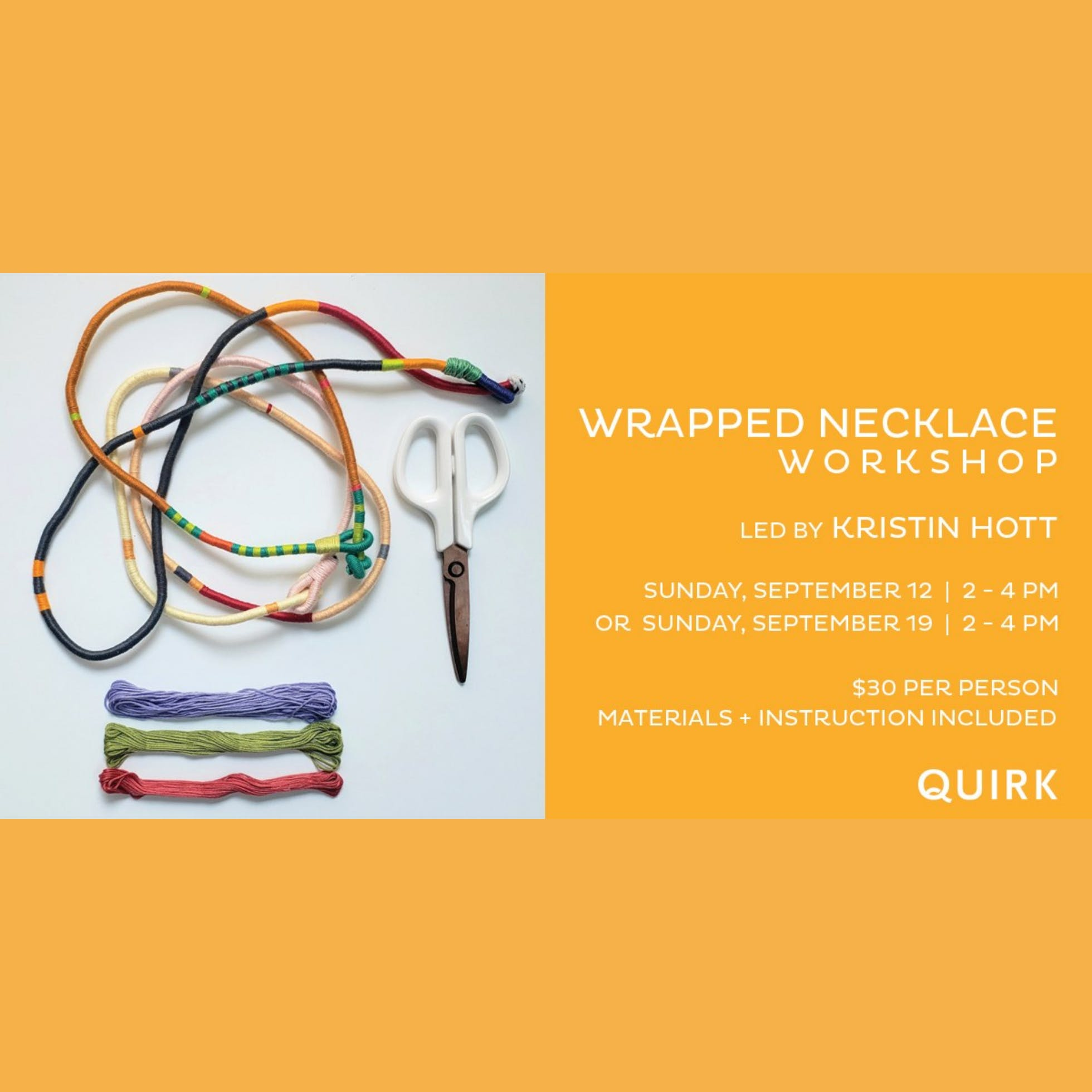 Wrapped Necklace Workshop with Kristin Hott