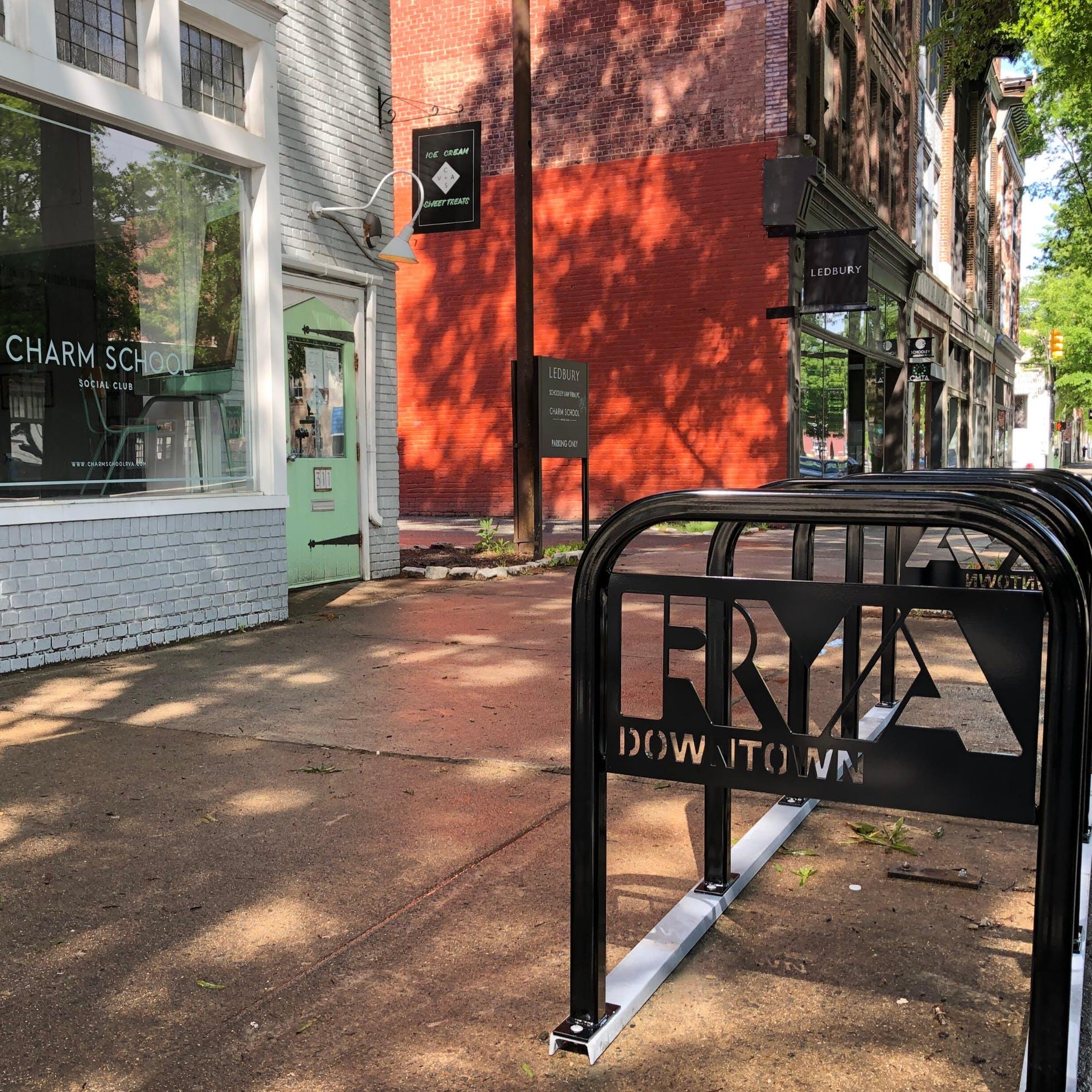 Downtown Richmond Bike Racks at Charm School