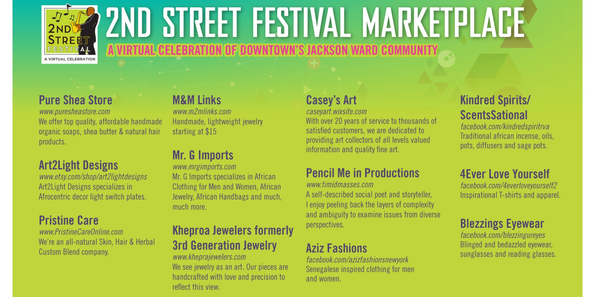 2nd Street Festival Virtual Marketplace 2020