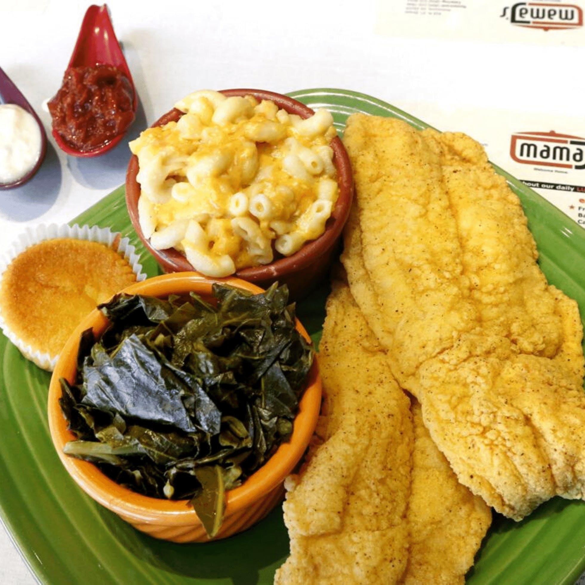 Mac and Cheese, Cornbread muffin, fried fish, and collard greens from Mama J's in Richmond VA